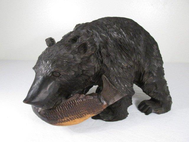 CARVED WOOD BLACK BEAR W/ SALMON