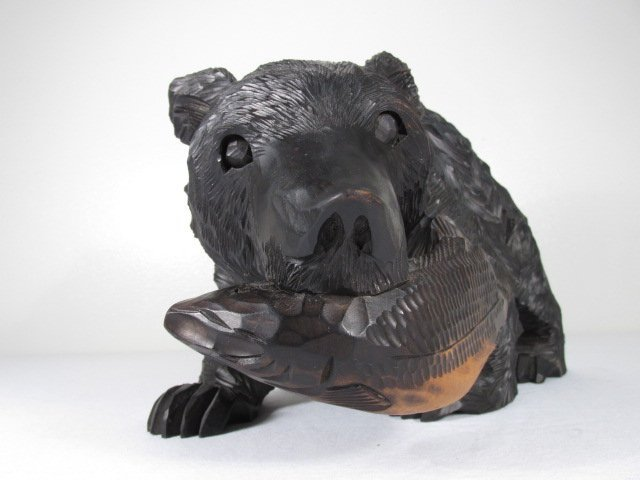 CARVED WOOD BLACK BEAR W/ SALMON - 2