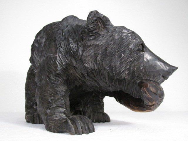 CARVED WOOD BLACK BEAR W/ SALMON - 3