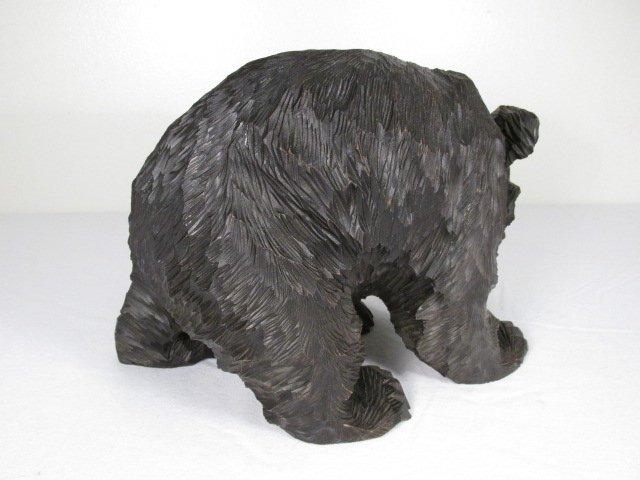 CARVED WOOD BLACK BEAR W/ SALMON - 4
