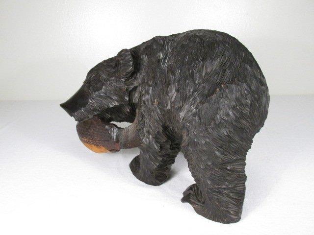 CARVED WOOD BLACK BEAR W/ SALMON - 5