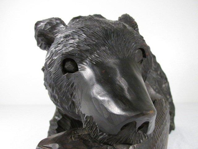 CARVED WOOD BLACK BEAR W/ SALMON - 6