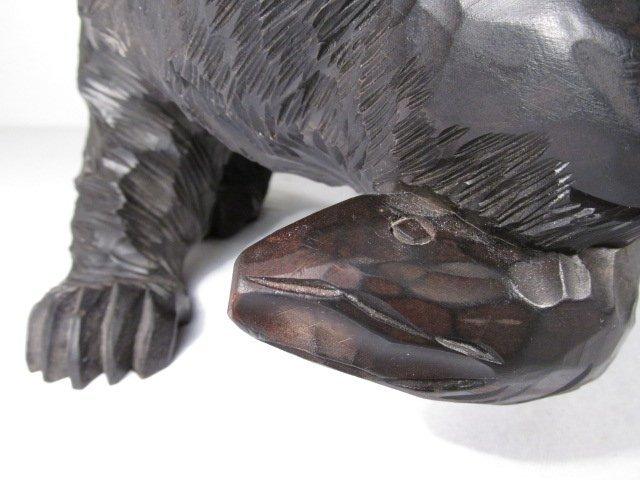 CARVED WOOD BLACK BEAR W/ SALMON - 7