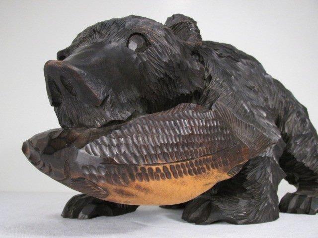 CARVED WOOD BLACK BEAR W/ SALMON - 9