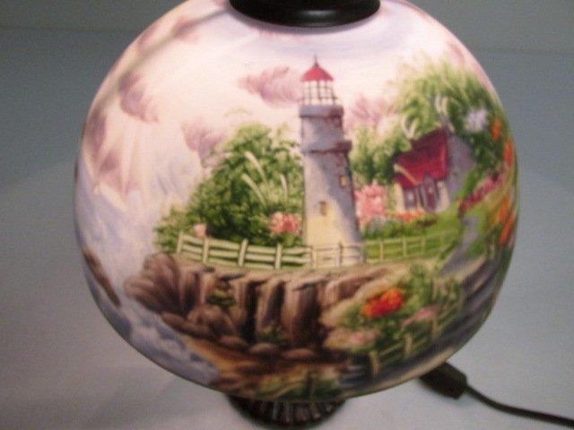 THOMAS KINKADE REVERSE PAINTED GLASS TABLE LAMP - 5