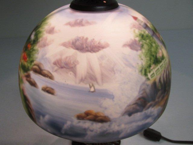 THOMAS KINKADE REVERSE PAINTED GLASS TABLE LAMP - 6