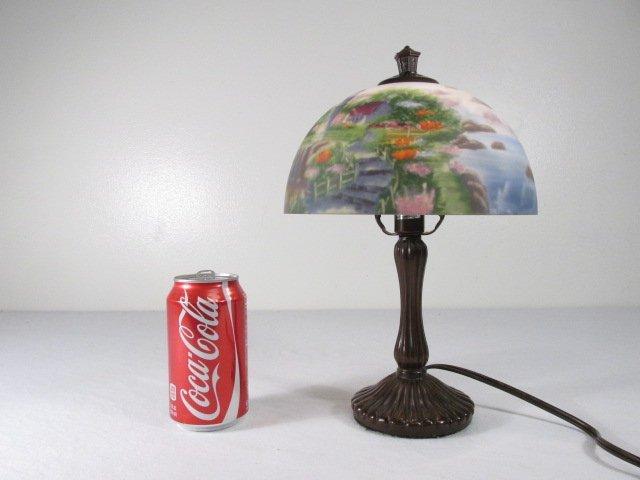 THOMAS KINKADE REVERSE PAINTED GLASS TABLE LAMP - 8