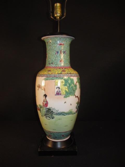 CHINESE FAMILLE ROSE HAND PAINTED VASE AS LAMP