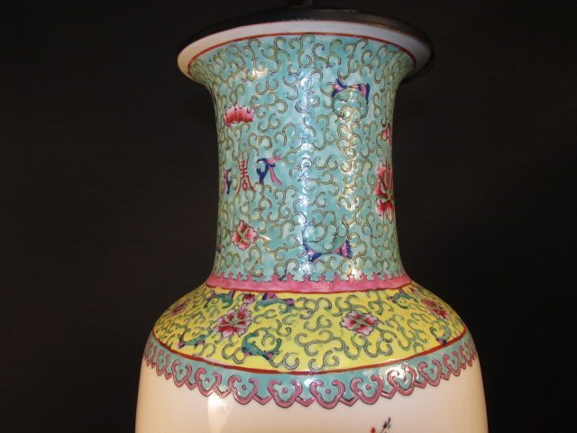 CHINESE FAMILLE ROSE HAND PAINTED VASE AS LAMP - 2
