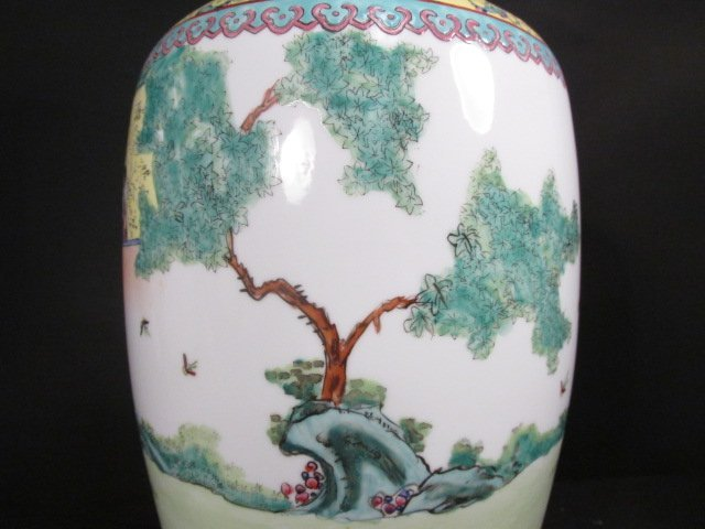 CHINESE FAMILLE ROSE HAND PAINTED VASE AS LAMP - 4