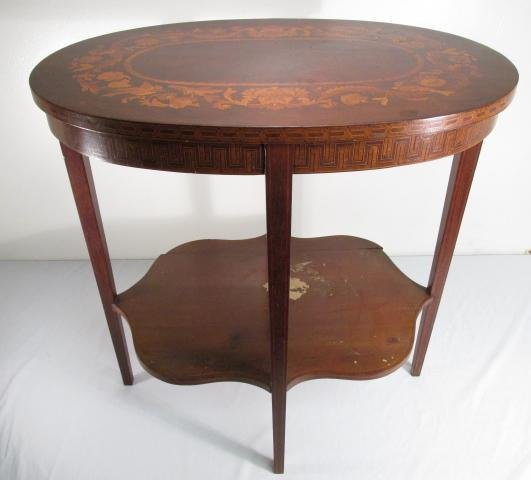 FEDERAL STYLE MARQUETRY INLAID MAHOGANY SIDE TABLE