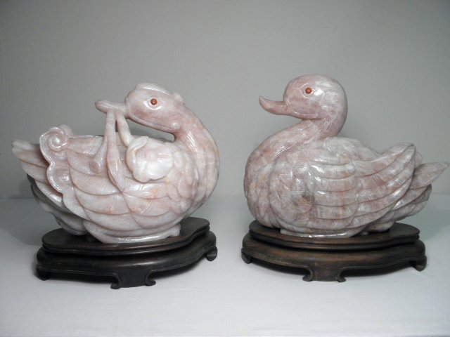 TWO CHINESE CARVED ROSE QUARTZ DUCKS
