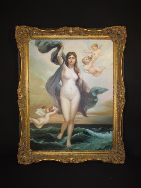 LARGE OIL ON CANVAS PAINTING: NUDE WOMAN W/ CHERUBS