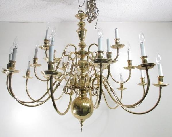 LARGE BALDWIN COLONIAL STYLE BRASS CHANDELIER Lot 0078 – Large Brass Chandelier