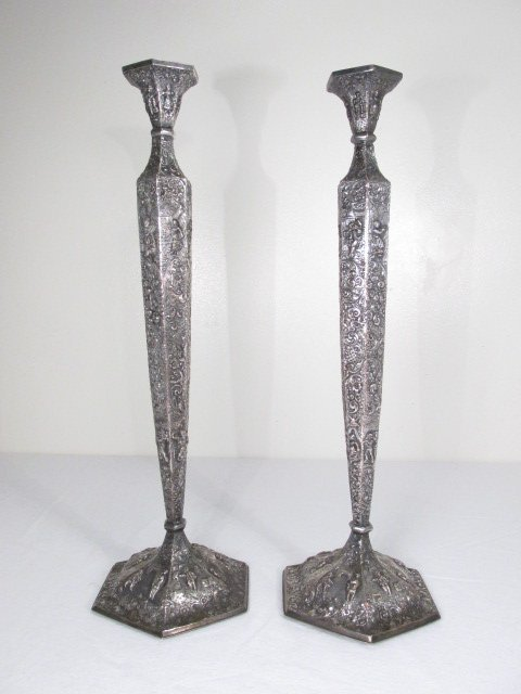 SILVER PLATED CANDLESTICKS & PAIR BARBOUR SILVER CO. SILVER PLATED CANDLESTICKS