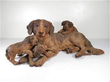 WALTER MADER BLACK FOREST CARVED WOOD DOG GROUP