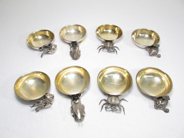 EIGHT LISI BROTHERS ITALIAN STERLING SILVER DISHES