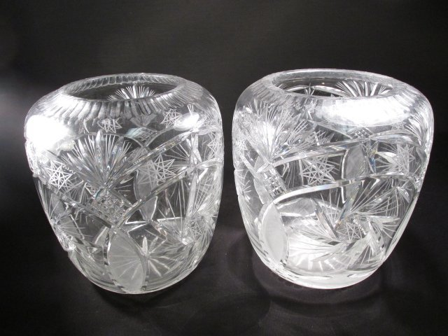 PAIR LARGE CUT CRYSTAL BULBOUS VASES