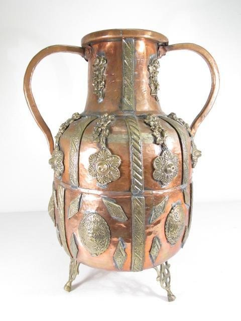 19TH C EUROPEAN HAND WROUGHT COPPER & BRASS VESSEL