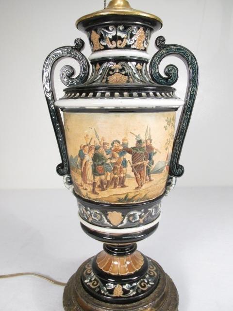 19TH C ITALIAN CERAMIC URN MOUNTED AS TABLE LAMP - 4