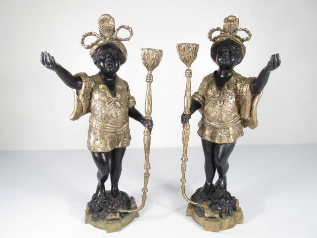 PAIR BLACKAMOOR PATINATED METAL CANDLEHOLDERS