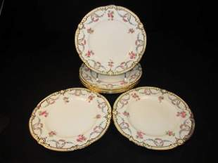 SIX MINTONS HAND PAINTED PLATES FOR TIFFANY & CO