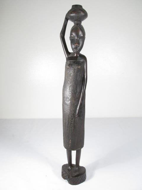 FOUR AFRICAN CARVED EBONY WOOD FIGURES - 6