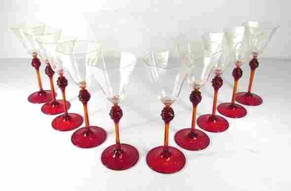 """TEN VENETIAN GLASS 9"""" STEMS: RUBY & GOLD FUMED"""