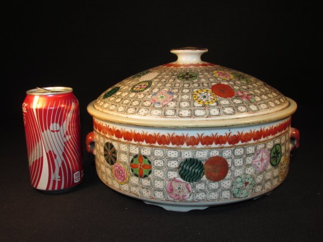 CHINESE HAND PAINTED PORCELAIN COVERED TUREEN - 10