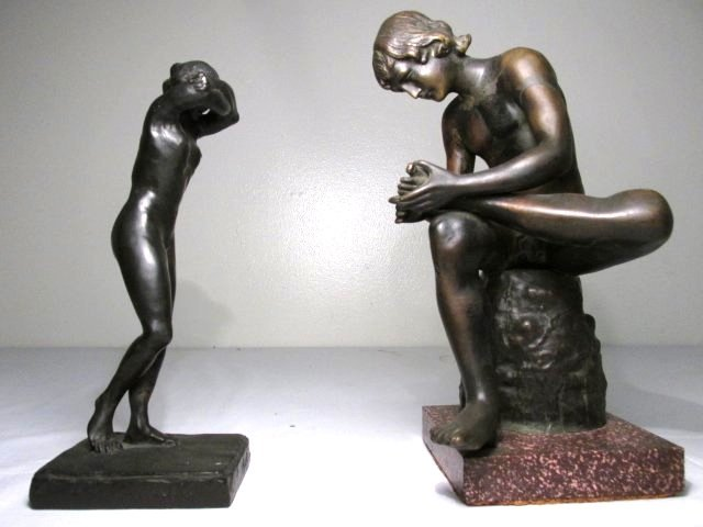 TWO CLASSICAL STYLE NUDE BRONZE SCULPTURES
