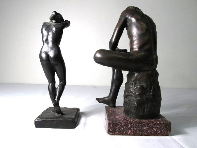 TWO CLASSICAL STYLE NUDE BRONZE SCULPTURES - 4