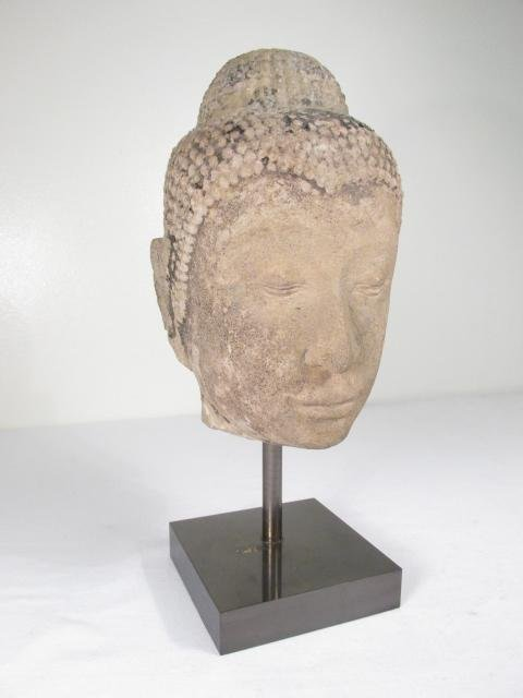 THAI CARVED STONE BUDDHA HEAD