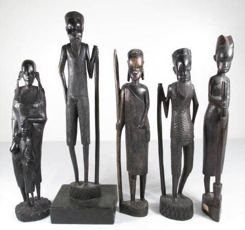 FIVE AFRICAN CARVED EBONY WOOD FIGURES