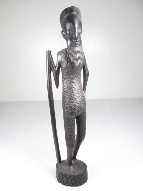 FIVE AFRICAN CARVED EBONY WOOD FIGURES - 8