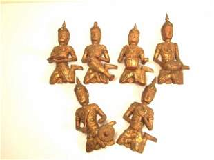 SIX INDONESIAN CARVED & GILT WOOD MUSICIANS