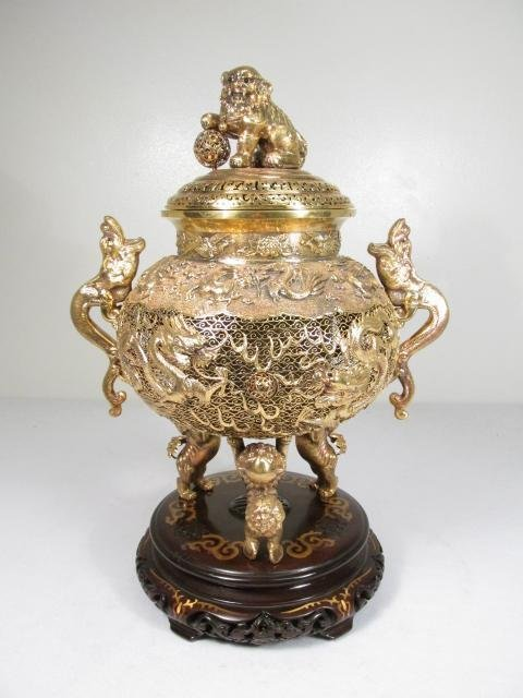MONUMENTAL CHINESE GILT SILVER CENSER W/ BASE
