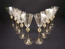 TEN VENETIAN HAND BLOWN GLASS STEMS