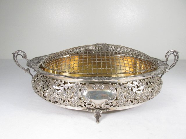 19TH C GERMAN .800 SILVER CENTERPIECE WITH FLOWER FROG
