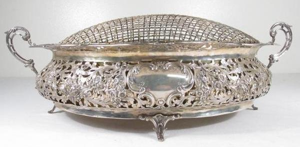 19TH C GERMAN .800 SILVER CENTERPIECE WITH FLOWER FROG - 3
