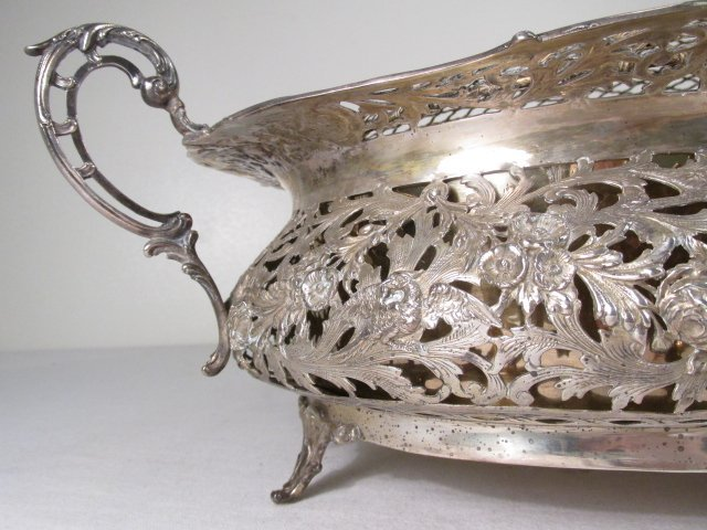 19TH C GERMAN .800 SILVER CENTERPIECE WITH FLOWER FROG - 5