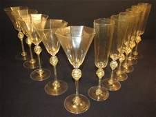 ELEVEN VENETIAN HAND BLOWN GLASS STEMS