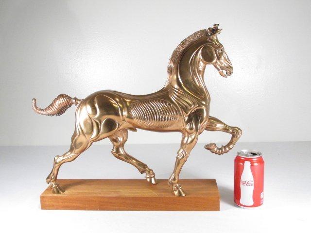 LUDOVICO DE LUIGI GILT BRONZE SCULPTURE: PRANCING HORSE - 9
