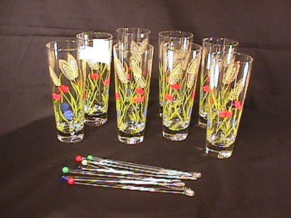 5: 8 50's HIGH BALL GLASSES AND 7 MUDDLERS
