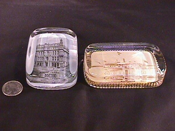 7: 2 GLASS PAPERWEIGHTS MASONIC TEMPLE