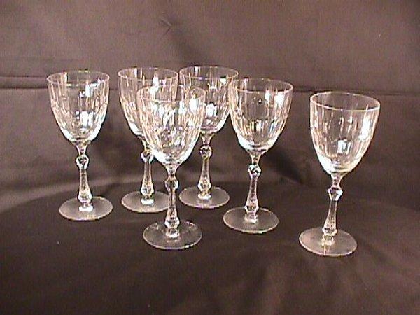 8: 6 CUT CRYSTAL WINE GLASSES