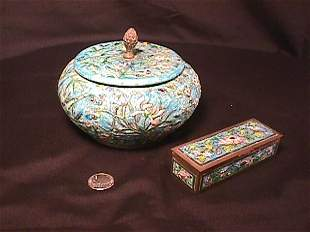 CHAMPLEVE STYLE LIDDED BOWL STAMP BOX