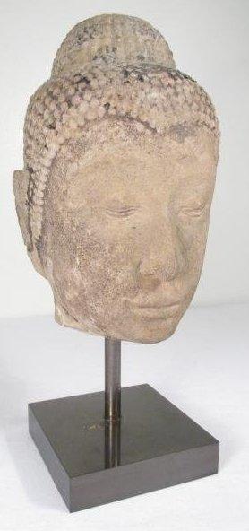 THAI CARVED STONE BUDDHA HEAD