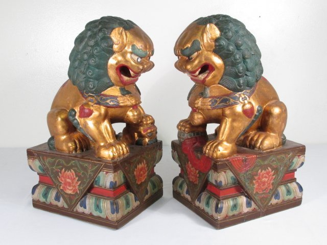 PAIR CHINESE POLYCHROME FINISH CARVED WOOD FOO DOGS