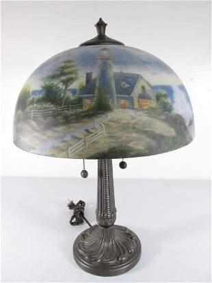 THOMAS KINKADE REVERSE PAINTED GLASS TABLE LAMP