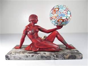 VINTAGE ART DECO WHITE METAL FIGURAL TABLE LAMP